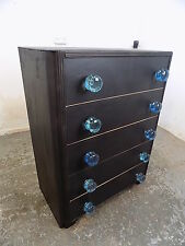 painted,black,vintage,1930's,chest of drawers,five drawer,drawers,glass handles