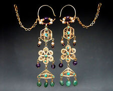 Nomades Argent Plaqué or Boucles d'oreilles Afghan Kuchi silver gilded Wedding Earring n15