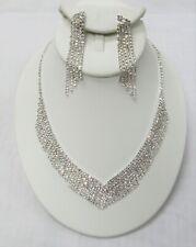 Silver Clear Rhinestone Crystal Necklace Set Pageant Prom Formal Bridal Wedding