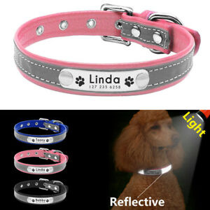 Reflective Personalised Dog Collar Leather Cat Kitten Name Collar Paw Engraved