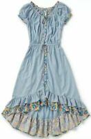 MATILDA JANE Come Away With Me Dress Blue Stripe Floral Ruffles Women's Size XS