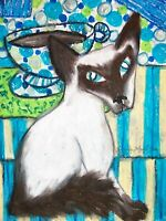 Balinese Cat Drinking Coffee collectible ACEO PRINT Pop Art Card 2.5 X 3.5 KSams
