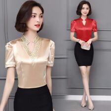 Women Satin Silk T Shirt Tops Glitter V Neck Short Sleeve Slim Work Wear Summer