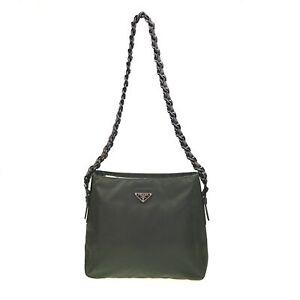 100% Authentic Prada Nylon SHOULDER BAG GREEN [USED] {08-151D}