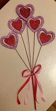 Valentines Day Heart SPRAY FLORAL PICK PINK Red DECOR Wreath Swag Window Clings
