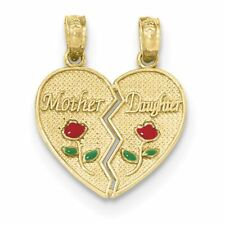 """14K Yellow Gold"""" Mother and Daughter"""" Two Piece Break-Apart Heart Charm Pendant"""