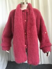 VINTAGE FLUFFY CHUNKY RIBBED KNIT MOHAIR JACKET SWEATER  W/BUILD IN SCARF  M-L