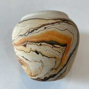 Vintage Nemadji Pottery Vase Mid Century Hand Painted Hand Made Swirl Design