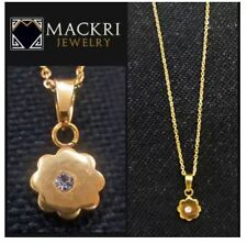 MACKRI Gold Stainless Steel Chain Necklace with Flower with Crystal Pendant