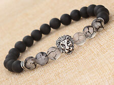 Cool MEN'S BLACK MATTE AGATE SILVER LION HEAD BEADS BRACELET 8MM BEADS 7.5inch