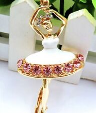 Betsey Johnson Necklace BALLET Pretty Dancer Ballerina  White Pink CRYSTALS
