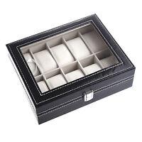Watch Display Case Jewelry Collection Storage Organizer PU Box 10 Grid B6V3