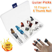5 Thumb +10 Finger Nail Guitar Picks Plectrum Colorful Set for Guitar Bass Banjo