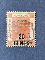 1885 Hong Kong stamp, 20c. on 30c.  SC#51 Used