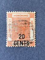 1885 Hong Kong stamp, 20c. on 30c. SC#51 Used