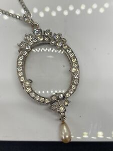 Locket Double Sided Glass With Chain 1880 Ish Silver & Paste Stamped 925