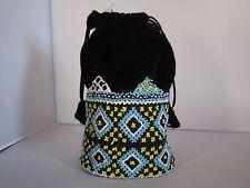Art Deco style Beaded Hand Bag, 1960's, Black drawstring