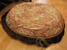 ancien coussin chine chinese brodé epoque 19 eme tapisserie dragon rose