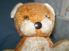"Vintage Stuffed animals bear Lion full of straw GLASS eyes ""Handmade"","