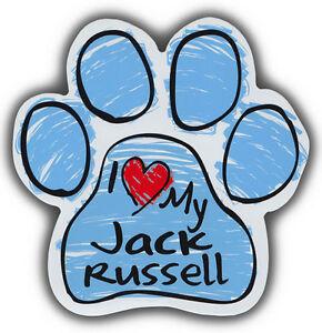Zeichnen Pfote Hund Magnete: I Love My Jack Russell Terrier Auto, Kühlschränke