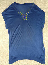 """LADIES BLUE KNITTED STUDDED V NECK LONG JUMPER T SHIRT TOP SMALL CHEST 38"""" 97cm"""