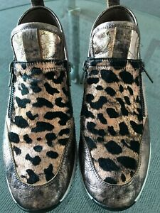 Top End 39 Rose Gold Sneaker Fur Leather Zipper Sides Animal Print as new