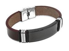 Leder Armband mit Edelstahlplatte Mit GRAVUR Wunschtext Wunschname Unisex Braun