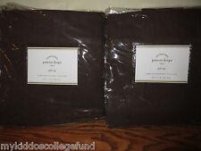 2 NIP Pottery Barn Peyton pole top drape panels 50x63 chocolate brown espresso