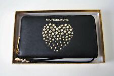 Michael Kors Purse Giftables LG Flat Case Leather Black Gold