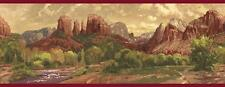 Wallpaper Border Southwest Red Mountains and River With Green Shrubs Red Trim