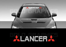 "Mitsubishi LANCER windshield vinyl banner 36"" Red logo/White wording"