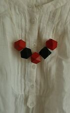 funky Hand Made Geometric Wooden statement Necklace Adjustable - red black
