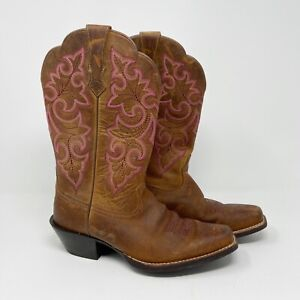 Ariat Womens Round Up Square Toe Western Boots Cowboy Powder Brown Leather Sz 6B
