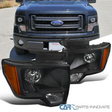 2009-2014 Ford F150 F-150 Pickup Black Retrofit Style Projector Headlights Lamps