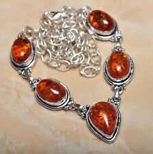 "Handmade Baltic Faux Amber Gemstone 925 Sterling Silver Necklace 19.5"" #N00697"