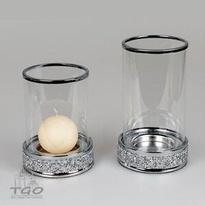 Formano Windlicht Brilliant aus Metall und Glas  silber 14x19 14x23cm