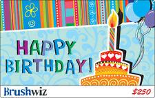 $250 BrushWiz Happy Birthday Plastic Gift Card (BrushWiz.com Website)