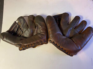 (2 GLOVE ANTIQUE LOT) WILSON 609 PITCHERS MODEL, RAWLINGS PLAYMAKER(SHOW Only)