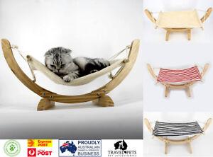 Deluxe Cat Hammock Wooden Frame Swing Bed Comfy Dog Pet Hanging Cradle Furniture