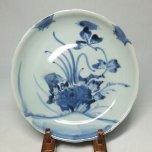 D0956: REAL Japanese plate of OLD KO-IMARI blue-and-white porcelain ware in 18c