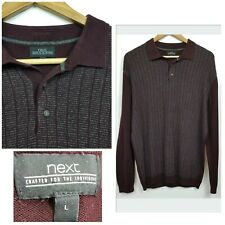 Next Jumper Sweatshirt Collared Long Sleeve Buttoned Burgandy Large