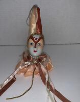 Vintage Venetian Mardi Gras Harlequin Jester Ornament Porcelain Doll Head