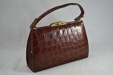 VINTAGE BROWN CROCODILE SKIN HANDBAG 1950s leather bag kid leather lined