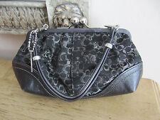 Coach Signature C Black W/ Silver Hardware Kiss Lock Jeweled Handbag/Evening Bag