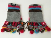 GIRLS BARTS SMALL GREY PINK BROWN FINGER PUPPET GLOVES