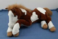"""Foal Baby Horse Pinto Plush Painted Horse White & Brown Stuffed Animal 24"""""""
