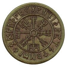 Vegvisir Compass Viking Icelandic Norse Runic multicam hook-and-loop patch
