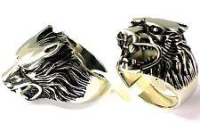 Herren Ring Wolfkopf Wolf 3D Edelstahlring Gotik 19,1; 20,7 21,5 22,5 mm