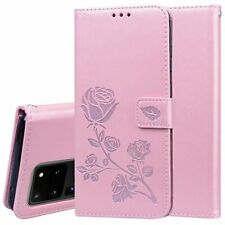 Lady'S Rose Embossed Flip Leather Wallet Card pocket Case For Samsung Cell Phone