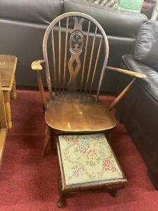 Ercol Fleur De Lys Grandfather Armchair With Footstool (2242) **Offer Price**